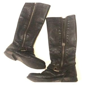 Black Steve Madden leather distressed riding boot